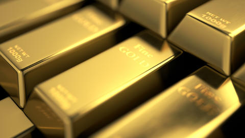 Close-up view of fine gold bars stacked into stairs Animation