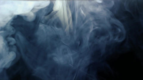 Isolated smoke effect on deep blue background. White fog footage, smoky, cloud, smog, gas Live Action