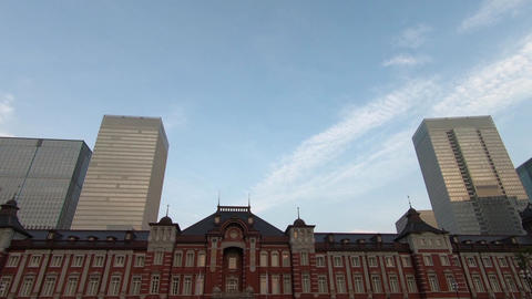 Japan city scenery. Looking up near Tokyo Station Footage