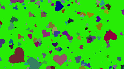 Isolated falling colorful hearts 3d rendering. This raining hearts is loop video. Ornaments for Animation