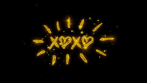 XOXO Valentine's Day Typography Written with Golden Particles Sparks Fireworks Footage