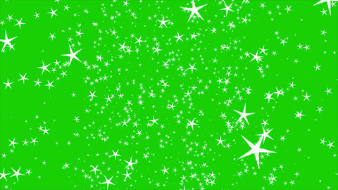 Isolated falling white stars rendering. Ornament for birthday, celebration in green screen Animation