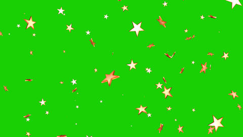 Isolated falling golden stars rendering. Ornament for birthday, celebration in green screen Animation