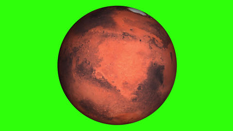 Beautiful planet of Mars animation in green screen. Close to the World, Mars is rotating. Milky Way Animation