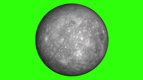 Solar system's planet of Mercury animation in green screen. Mercury is rotating Animation