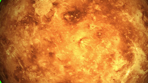 Beautiful planet of Venus animation in green screen. Evening star Venus is rotating. Milky Way Animation