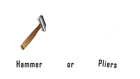 Selection between a hammer and pliers. Hand drawn hammer and pliers Animation