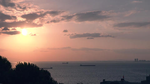 Beautiful sunset on sea and silhouette trees. Summertime, sun is setting and clear ocean with Footage
