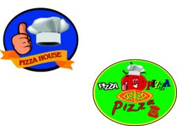 sticker with image of pizzaAdesivo pizze Vector