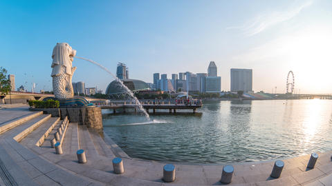 Time Lapse of Merlion with landmark buildings in Singapore city Live Action