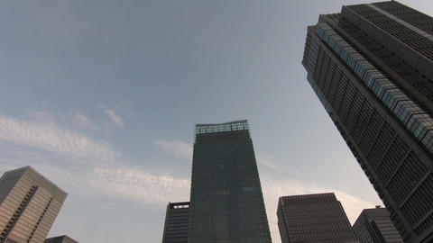 Japan city scenery. Sky and skyscrapers Footage
