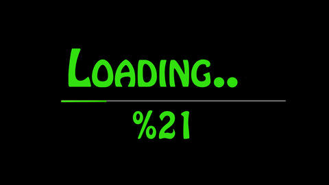 Gaming loading bar. Loading transfer download 0-100% . Animation on black screen Animation