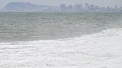Surge with big waves, strong wind and poor visibility.Two... Stock Video Footage