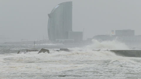 Surge with big waves, strong wind and poor visibility Footage