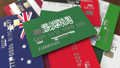 Many credit cards with different flags, emphasized bank… Stock Video Footage