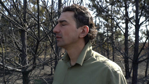 Man in despair standing in burned forest af wildfire, ecological catastrophe Live Action