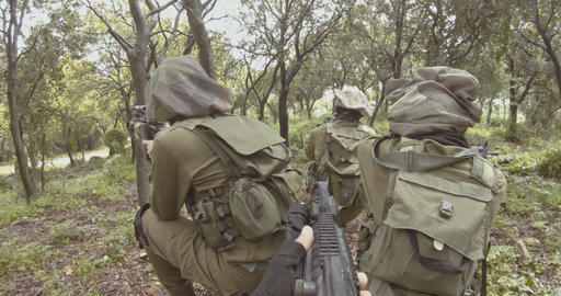 Weapon GoPro POV footage of a squad of Israeli commando soldiers during combat Live Action
