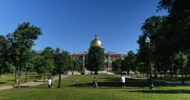 Massachusetts State House in Boston Establishing Shot Footage