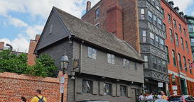 Establishing Shot of Paul Revere House in Boston Footage