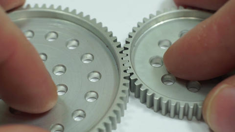 Industrial Spur Gear Hub Meshing Macro Live Action