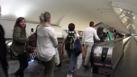 PARIS,Transfer point with a lot of hurry commuter people ULTRA HD 4k, real time Live Action