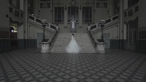 Happy Bride In Luxury Hotel Hall Footage