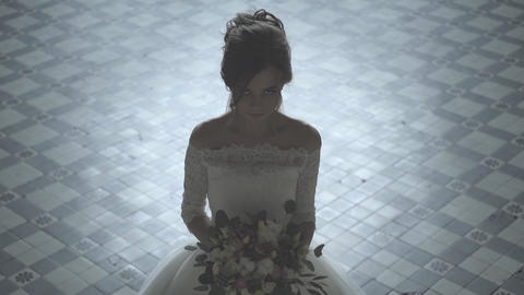 Bride In Wedding Dress With Bridal Bouquet Footage