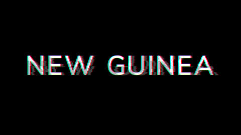 From the Glitch effect arises NEW GUINEA. Then the TV turns off. Alpha channel Premultiplied - Animation
