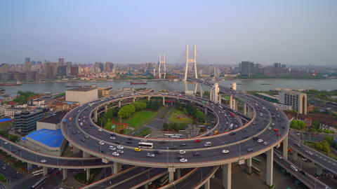 Time lapse of aerial view of Nanpu Bridge, Shanghai Downtown, China. Financial district and business Live Action