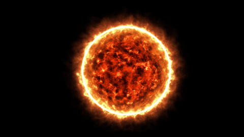 4K Sun concept, theme on black background. Star of galaxy sun's realistic animation Animation