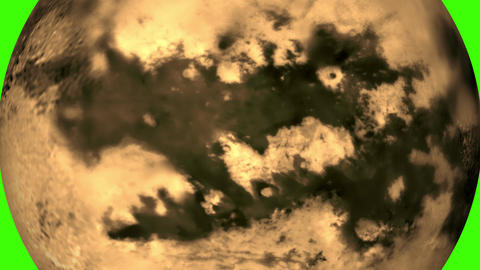 Titan rotating. Planet or satellite Titan. Satellite of Saturn in green background Animation