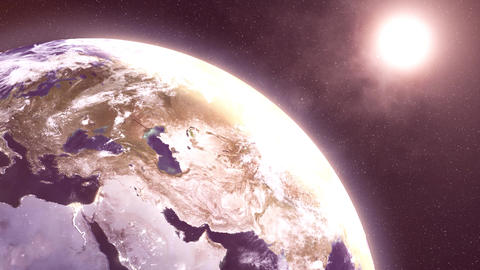 Earth, World sunrise 3d rendering. Globe planet and sun on space Animation