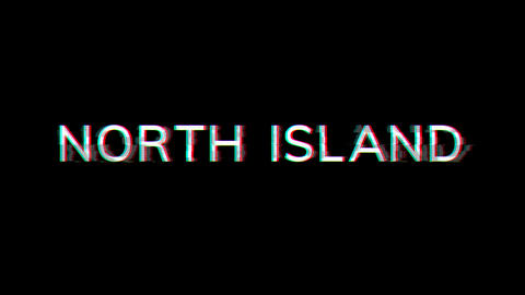 From the Glitch effect arises NORTH ISLAND. Then the TV turns off. Alpha channel Premultiplied - Animation