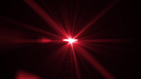 Red light rays on black background. Flare, sunlight, shiny lens light Animation