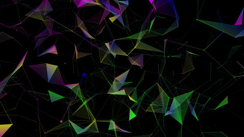 Blue, green, purple lines, plexus abstract background 3D rendering. Digital geometric multicolored Animation