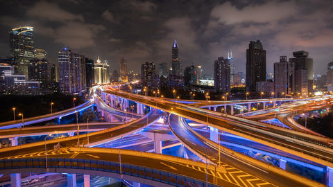 Time lapse of highways in Shanghai Downtown, China. Financial district and business centers in smart Live Action