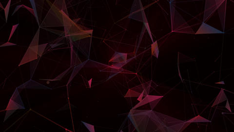 Red lines, plexus abstract background 3D rendering. Digital geometric triangles on black background Animation