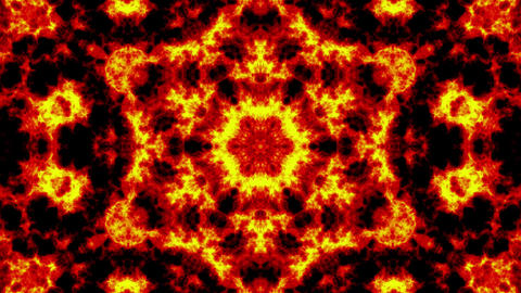Orange sun and star, firestyle kaleidoscope background. Beautiful graphic texture, symmetry. Fractal Animation