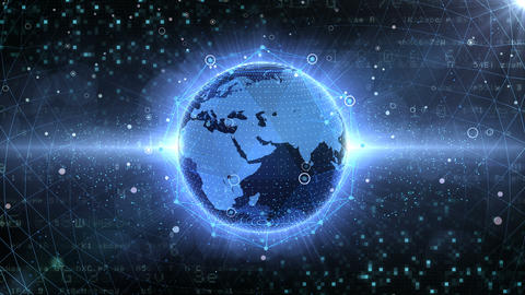 Earth on Digital Network 18 P1BS 4k Animation