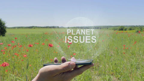 Hologram of Planet issues on a smartphone Live Action