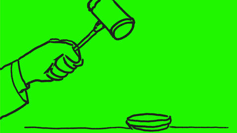 Gavel Hitting Wooden Block Drawing 2D Animation Animation