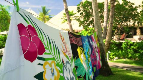 Sarong skirts handmade hanging in Tahiti, French Polynesia wrap hanging Footage