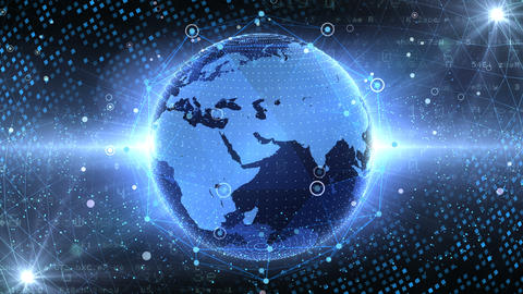 Earth on Digital Network 18 P1B 4k Animation