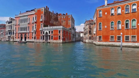 Venice Venezia Italy city view from ship boat trip Canal Grand Grande Footage