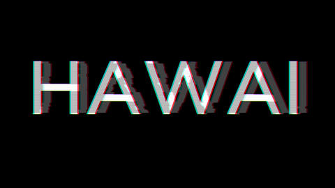 From the Glitch effect arises HAWAI. Then the TV turns off. Alpha channel Premultiplied - Matted Animation