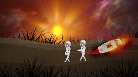 Two astronauts walking on different planets, moon earth with spacesuits. The sun is shining across Animation