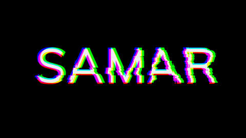 From the Glitch effect arises SAMAR. Then the TV turns off. Alpha channel Premultiplied - Matted Animation