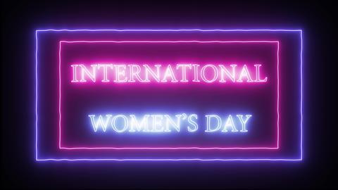 Neon sign 'International Woman's day' Fotografía