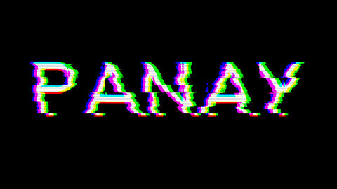 From the Glitch effect arises PANAY. Then the TV turns off. Alpha channel Premultiplied - Matted Animation
