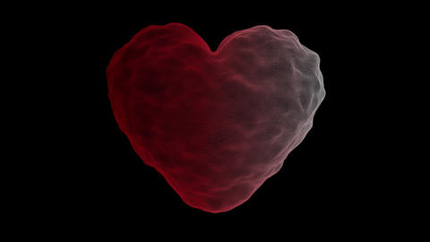 Red, fluid heart isolated on black screen. Love, Valentine's concept object 3D illustration Animation